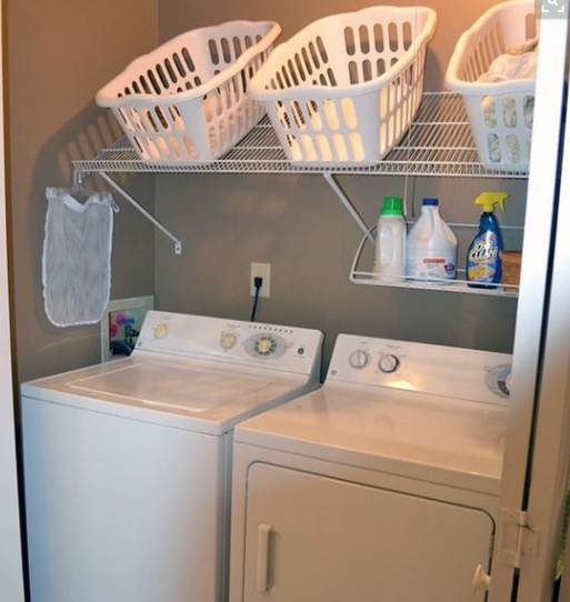 Over head baskets to organise your laundry