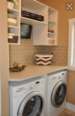 Organise the laundry with shelves